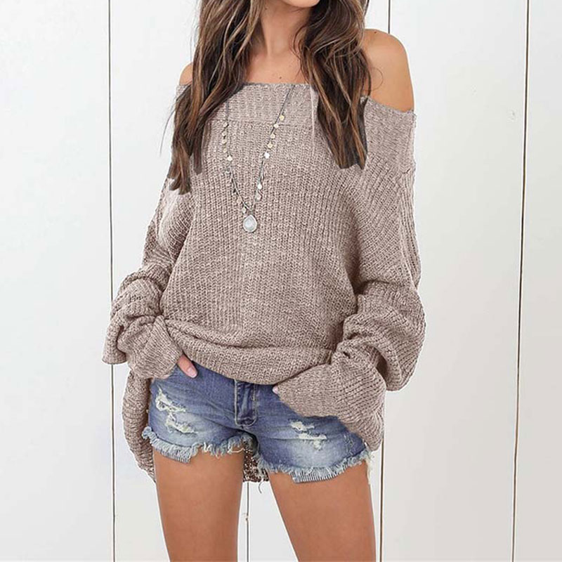 Autumn Off Shoulder Sweater Oversize Women Pullover Oversized Sweaters Female Knitted Knitwear Winter Pull Femme Jumper Ladies