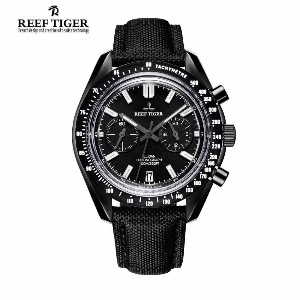 2017 New Reef Tiger/RT Designer Sport Watches with Chronograph Date Calfskin Nylon Strap Super Luminous Watch for Men RGA3033 yn e3 rt ttl radio trigger speedlite transmitter as st e3 rt for canon 600ex rt new arrival