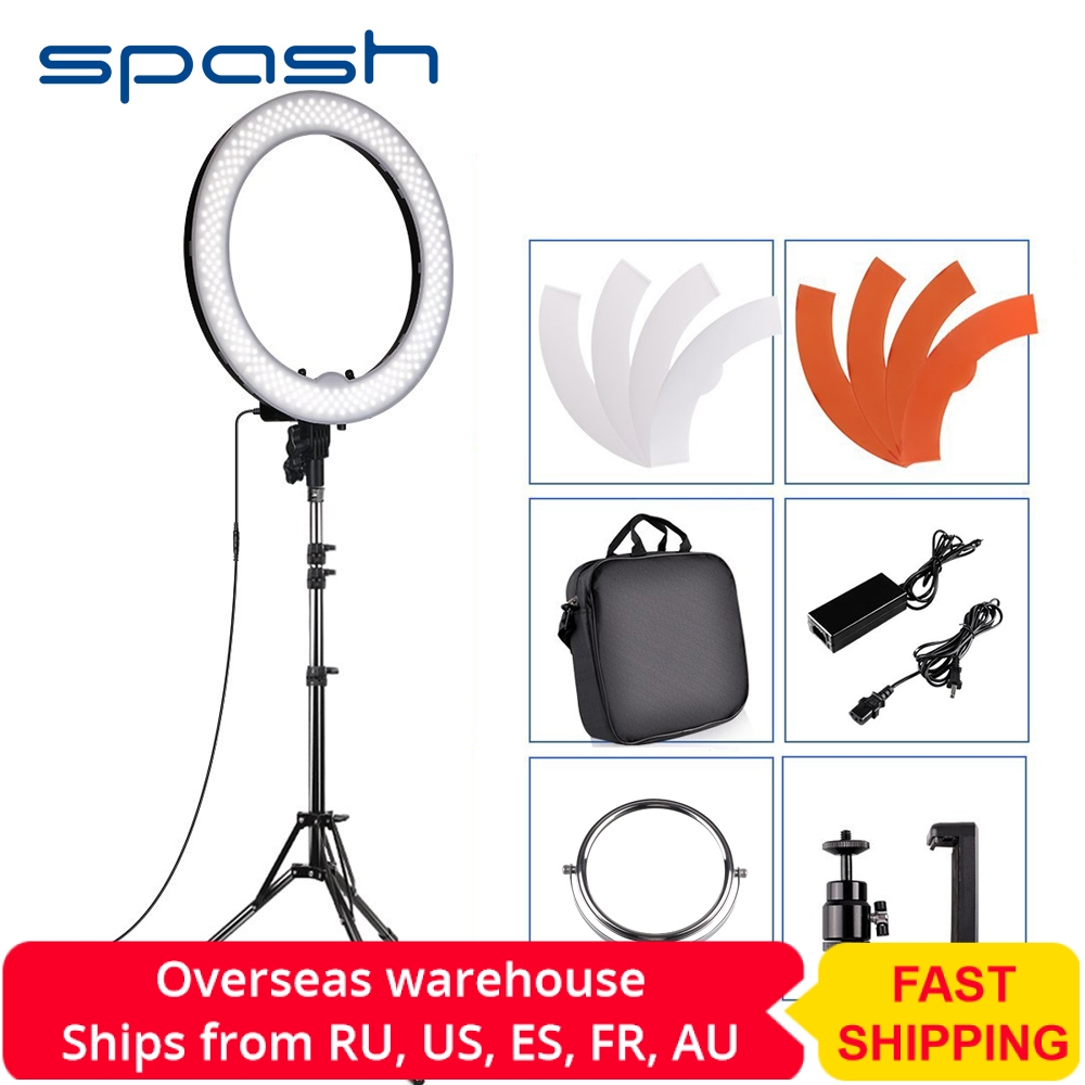 Spash RL-18 LED Ring Light Photography Lighting With Tripod Makeup Mirror 240 LEDs Dimmable 5500K Camera Studio Phone Video Lamp