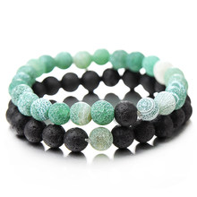 2Pcs/Set Vintage Distance Bracelet For Women Chic Natural Stone Multicolor Beaded Couple Bracelets Fashion Jewelry Hot Sale(China)