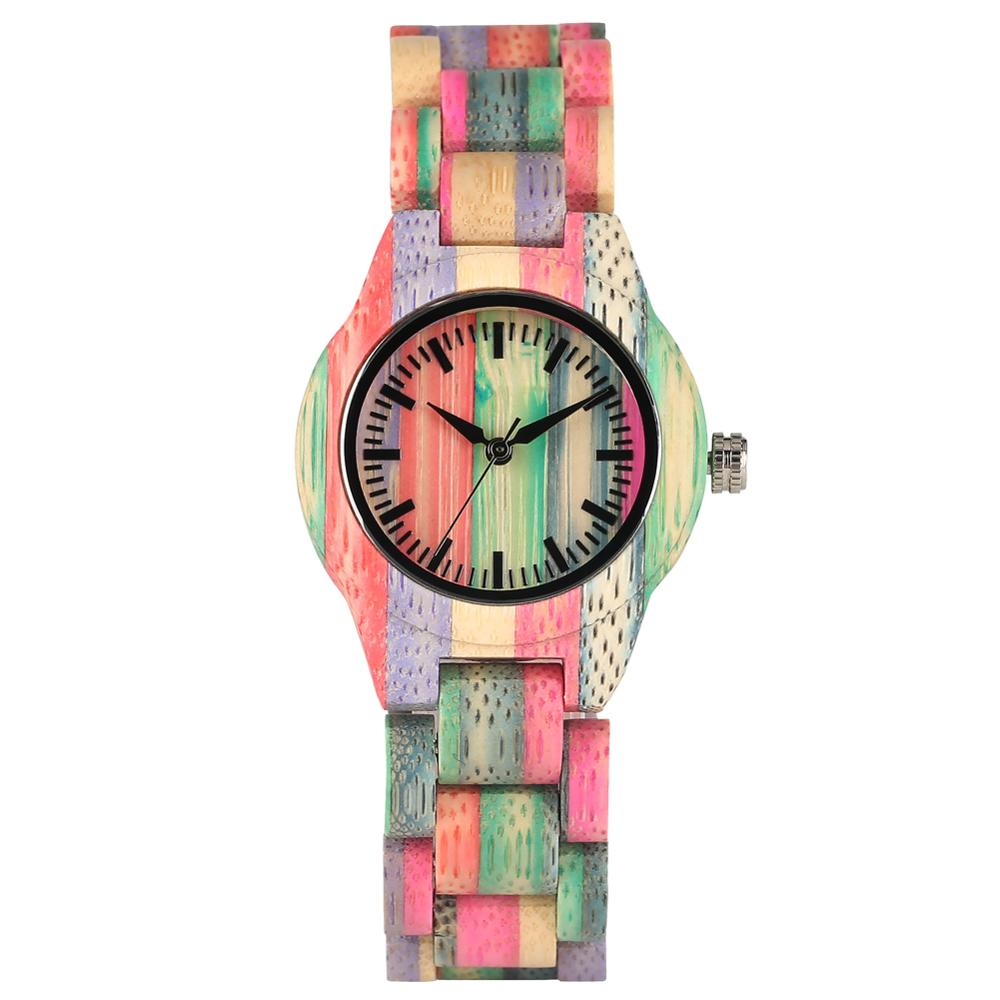Women's Watch Quartz Handmade Bamboo Clasp Lightweight Dial Folding No-Words Casual