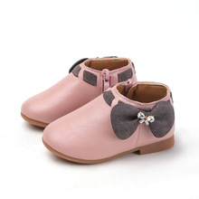 Spring Autumn NEW Kids leather shoes baby girls bow soft sole girl boots winter 1T 2T 3T 4T 5T 6T 7T grey pink beige