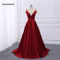 yiwumensa Spaghetti Strap Prom dress 2018 New Arrival Long Prom Dresses Satin A Line V Neck Sleeveless Custom made Evening Gowns