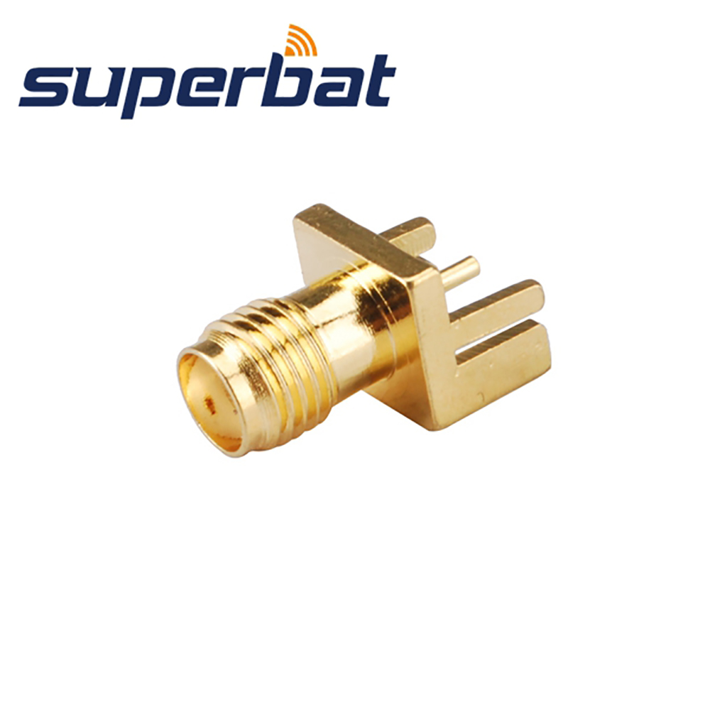 Superbat 10pcs RF SMA Connector End Launch Female Jack PCB Mount wide flange .031(0.79mm) Free Shipping