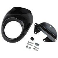 BLACK Front Cowl Fork Mount Headlight Fairing Bezel Mask For Harley Sportster Dyna Glide FX XL