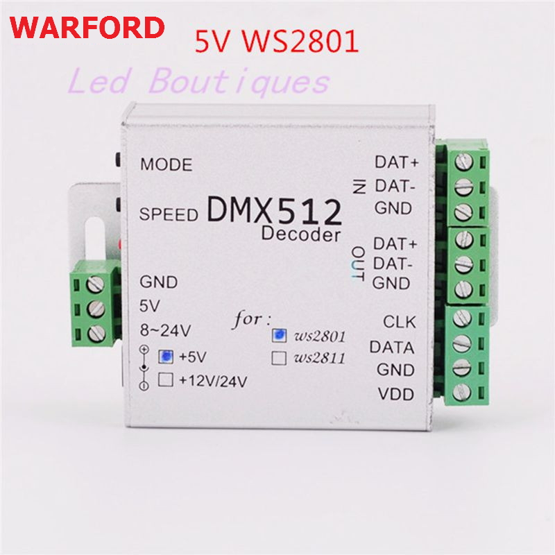 DC5V/12V ws2812B ws2801 WS2811 DMX dmx512 rgb led controller DMX DMX512 Decoder BOARD IC led strip LED SPI Converter цена