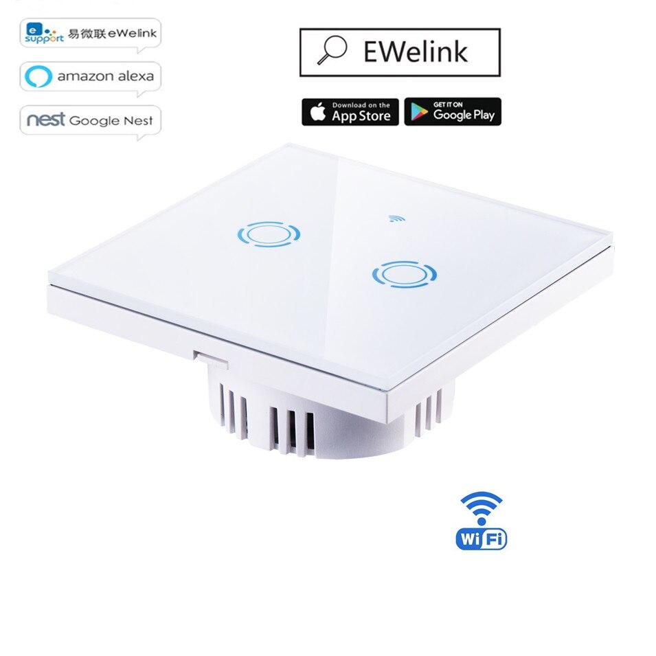 Ewelink APP/Wifi/сенсорный выключатель лампы ЕС тип 1 2 3 Gang 1 Way Wifi Пульт дистанционного управления беспроводной выключатель света сенсорный выключатель Умный дом