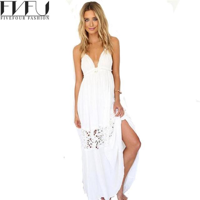 White Halter Dresses for Women