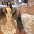 I Bay U Pearl Beaded Mermaid Evening Dresses 2017 Autumn Formal Plus Size Maxi Party Evening Gown Dubai Style Luxury Lace CMW162