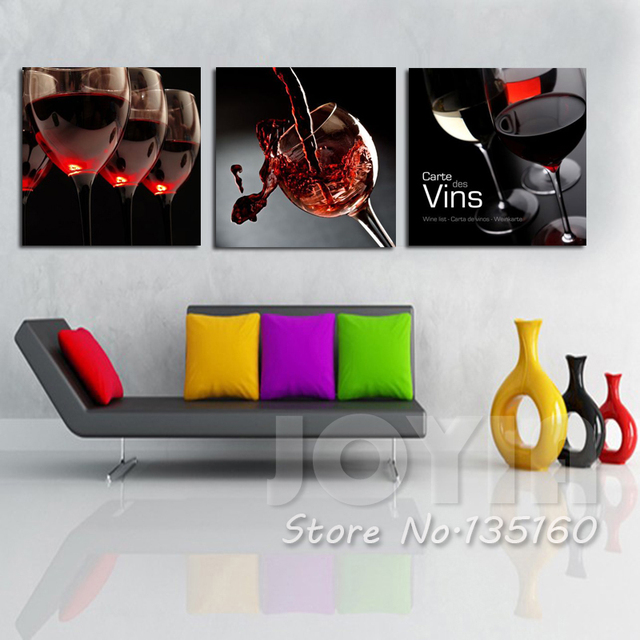 Fashion Wall Art Decorative Picture Red Wine Glass Painting On Canvas For  Kitchen Room Bar Decoration