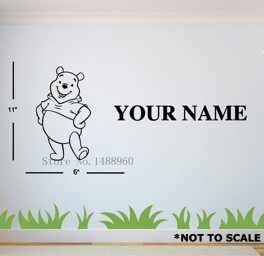 compare prices on nursery decor boy online shopping buy low price e123 winnie pooh walt warm custom name wall stickers decal girls boys kids room wall personalized