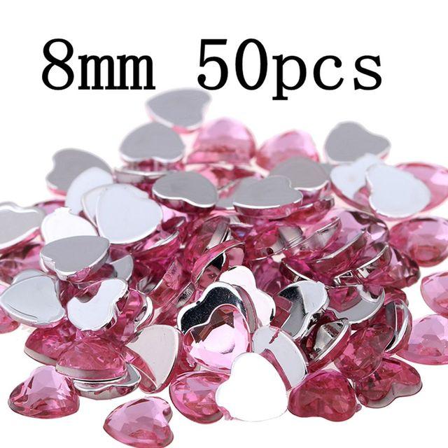 Craft Art DIY Gems 8mm 50pcs Heart Shape Gems Shiny Flat Facets Normal  colors Acrylic Rhinestone Strass Nail Stickers 427702a7f459