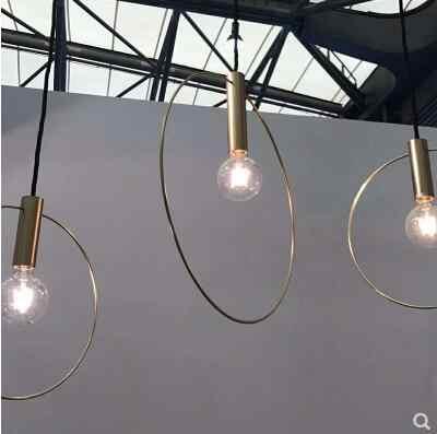 เรขาคณิตโคมไฟระย้าทองแดงบุคลิกภาพห้องนั่งเล่นห้องรับประทานอาหาร cafe bar โคมไฟห้องนอนเดี่ยวหัวโคมระย้า