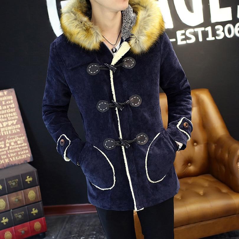 Winter 2016 Warm Plus Velvet Hooded Down Jacket Korean Slim Fur Collar Stylish Mens Jackets and