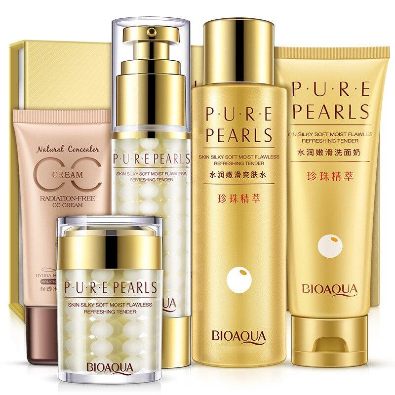 BIOAQUA Pure Pearl Nourish & Smooth Set Skin Care Moisturizing Cleanser, Toner, Lotion, Essence Cream, CC Cream chanel 5ml cc cc cream