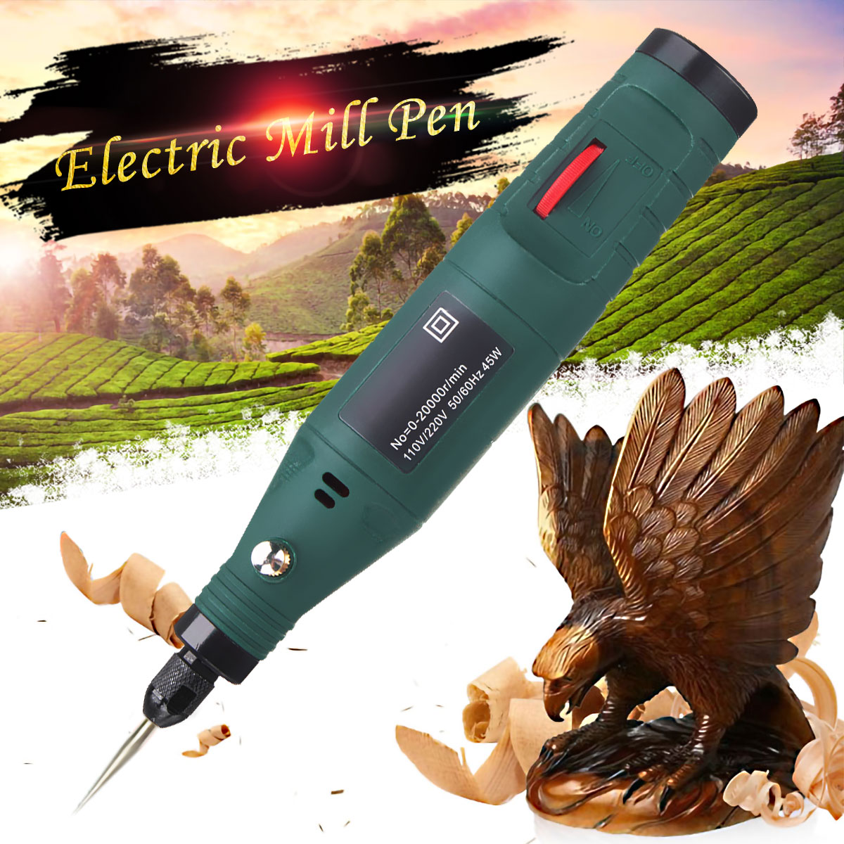 12V 45W Electric Drill Mini Electric Grinding Rotary Tool Variable Speed Hand Carving Engraving Pen Grinder Power Tool