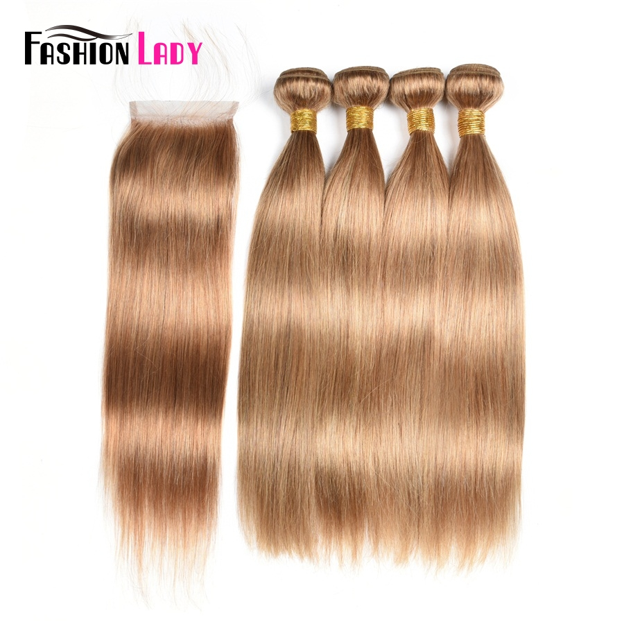 Fashion Lady Pre-Colored 3 Bundles Brazilian Human Hair Straight Blonde Color 27# With Lace Closure Free Part Non-Remy Hair