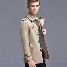 Mens trench coats man England Single-breasted coat men clothes slim fit short ov