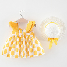 Baby Girls Dresses With Hat 2pcs Clothes Set