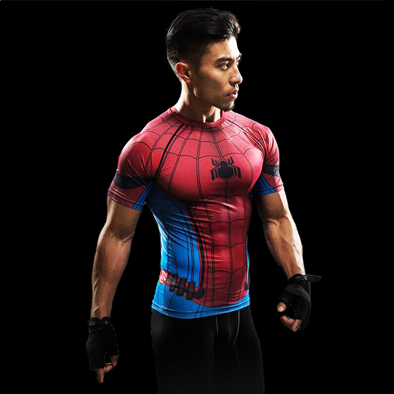 SpiderMan 3D Printed T Shirt Compression Shirt Superhero Civil War Tee Men Avengers Short sleeve Fitness Cosplay Slim Fit Tops