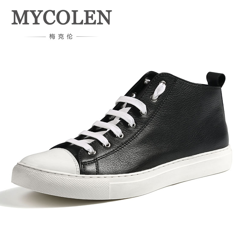 цена на MYCOLEN High Quality New Spring Summer Canvas Shoes Men Sneakers High Top Black Shoes Men Casual Male Brand Fashion Sneakers