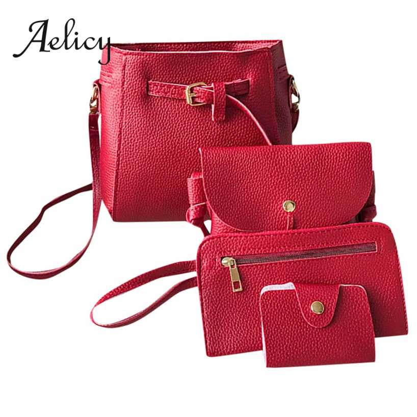 891feda96114 Aelicy 4 Pcs Women Handbags Quality Litchi Leather Solid Luxury ...
