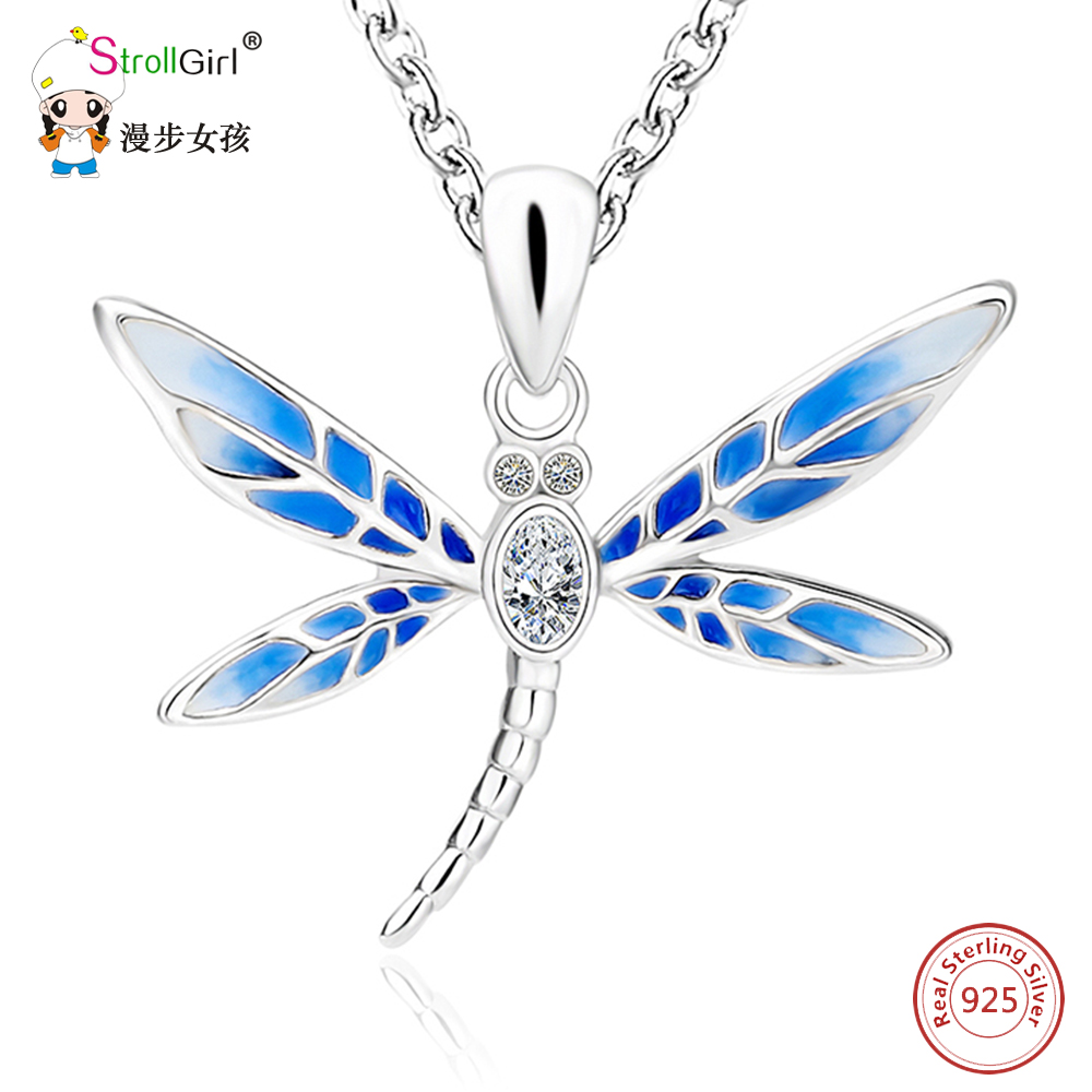StrollGirl Blue Dragonfly Pendants & Necklaces For Women 925 Sterling Silver Cubic zirconia Necklace Chain Fashion Jewelry Gifts necklace love imitation silver chain letter personality clavicle 925 sterling silver paved rainbow cubic zirconia love necklaces