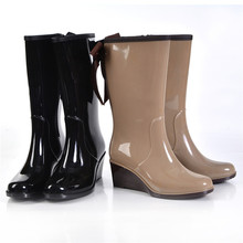 2017 New Rubber Boots Waterproof Trendy Women Rain Boot Solid Color Rainy Shoes Women
