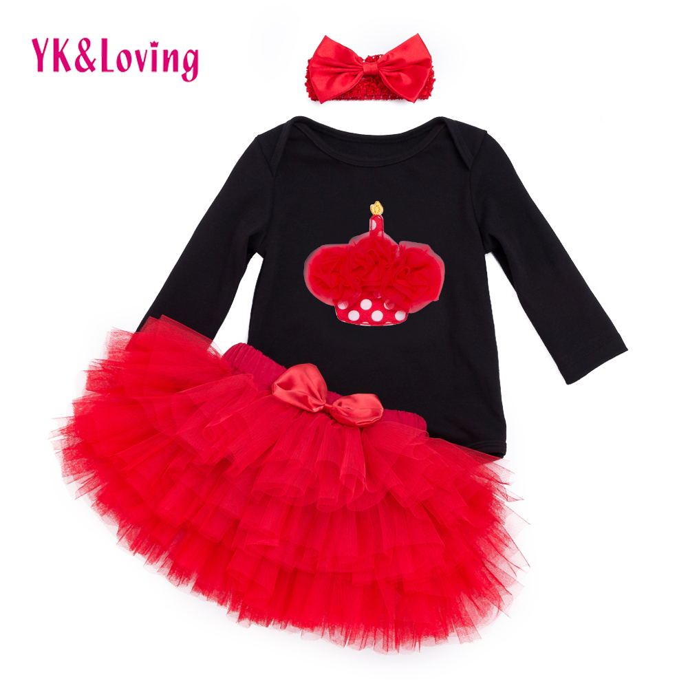 Cartoon Baby Clothing Sets Black Long Sleeve Rompers + Red Ruffle Skirts + Headband 3pcs Set Tutu Pettiskirt Girl Clothes red black 8 layered pettiskirt red sparkle number ruffle red bow tank top mamg579