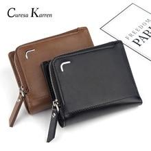 New mens wallet Short retro fashion classic multi-card zipper bag Large-capacity coin purse