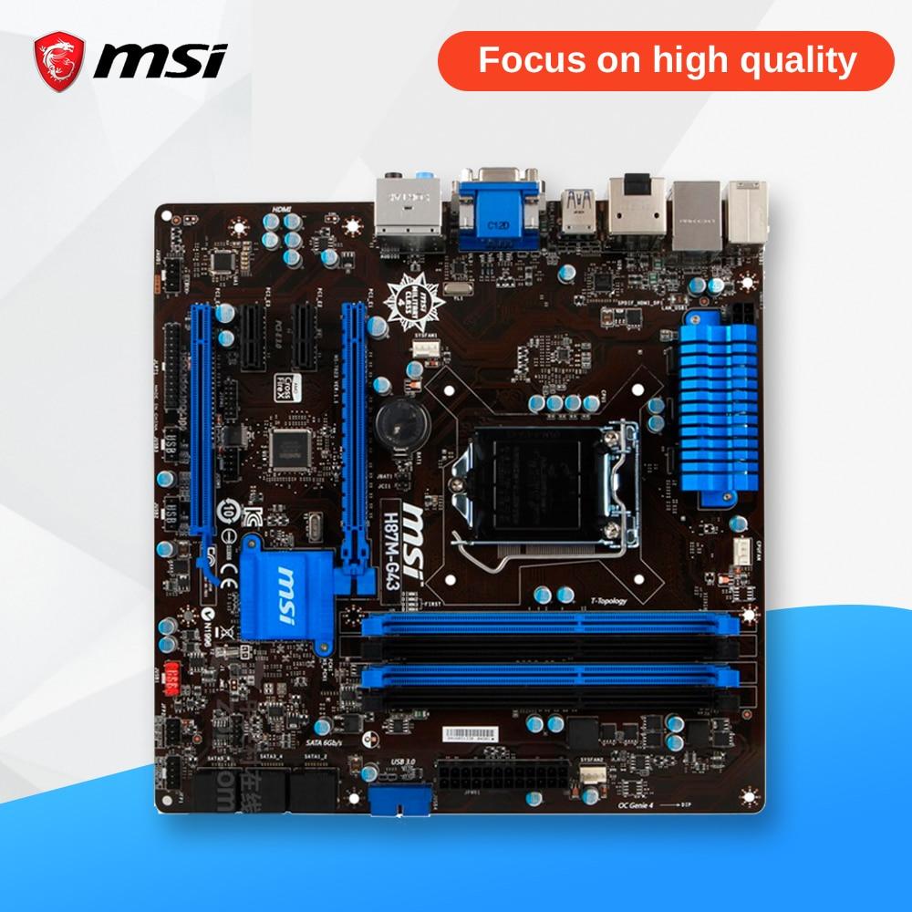 MSI H87M-G43 Original Used Desktop Motherboard H87 Socket LGA 1150 i3 i5 i7 DDR3 64G SATA3 USB3.0 Micro-ATX asus h87 plus original used desktop motherboard h87 socket lga 1150 i7 i5 i3 ddr3 32g sata3 ubs3 0 atx