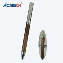 ACMECN 27g Brass Silver Cap Metal Ballpoint Pen Coffee Wood Walnut Crafts Gifts Hand-made Luxury Pens