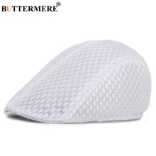 BUTTERMERE Flat Caps For Men Women White Summer Mesh Newsboy Beret Hat 2019 Brand New Casual Male Female Gatsby Duckbill