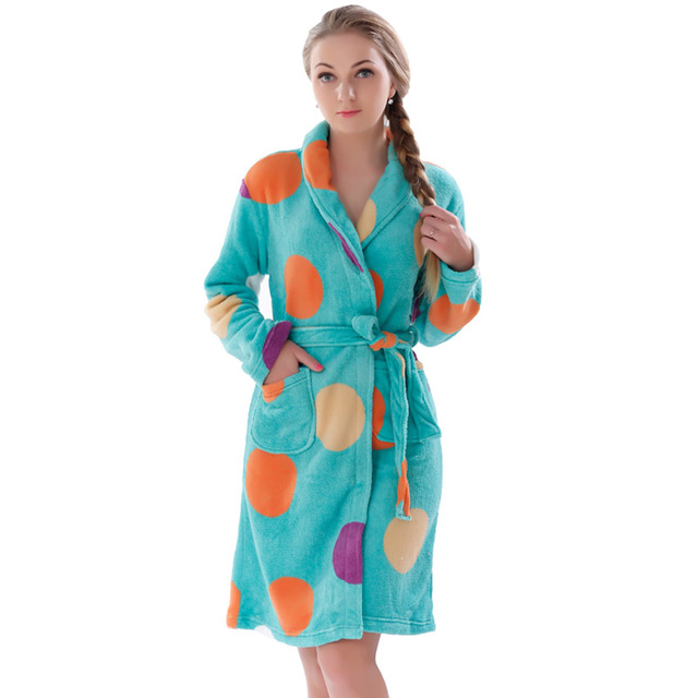 dacbc69f20 Women Robes Coral Fleece Bathrobes Female Kimono Robes Home Clothing Sleepwear  Warm Nightgowns Dressing Gowns Robes