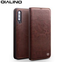 QIALINO Genuine Leather Card Slot Flip Case for Xiaomi Mi 9 Fashion Vintage Full Protection Phone Cover for Xiaomi 9 6.39 inch