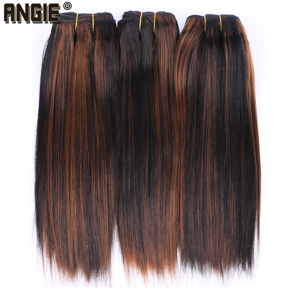 Short Silky Straight Hair Bundles Color P1/30 Synthetic Hair Extensions 100 Gram One Piece Weave Product