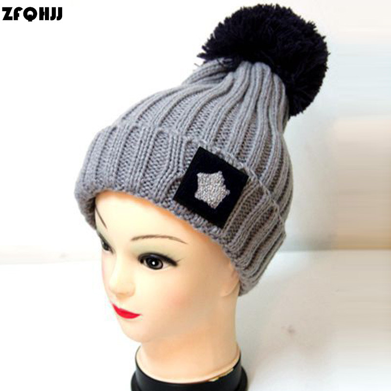 ZFQHJJ 2017 New Arrival Women's winter knitted hat Acrylic Yarn Ball Top Russian Cap Beanies Skullies Casual Star Hats for Girl 4pcs new for ball uff bes m18mg noc80b s04g