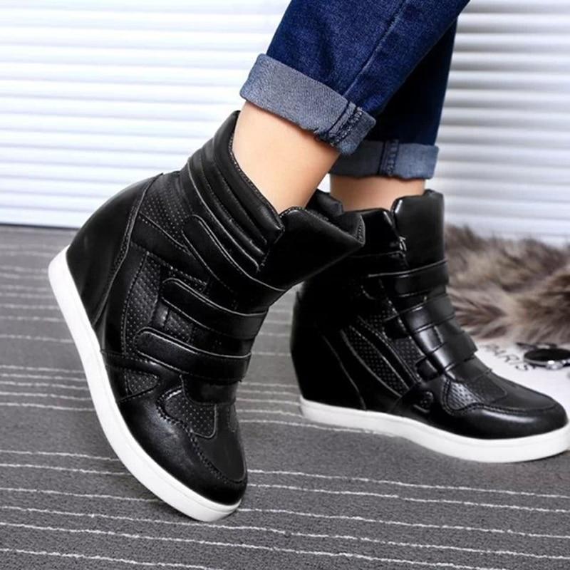 2019 Spring New Women Ankle Boots Wedge Platform hook loop S