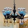 Européen moderne Tiffany couleur verre méditerranéen bleu Restaurant café Bar salon 5 lustres|Lampes à suspension| |  -