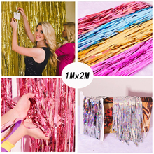 1Mx2M Gold Shiny Foil Fringe Curtain Metallic Photo Booth Tinsel Backdrop Door Curtains Wedding Decorations Birthday Door Decor