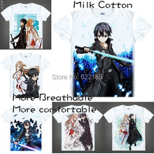 2015 Sword Art Online Kirito Kazuto Kirigaya T Shirt Anime Japanese Animation Novelty Summer Men's T-shirt Cosplay Clothing
