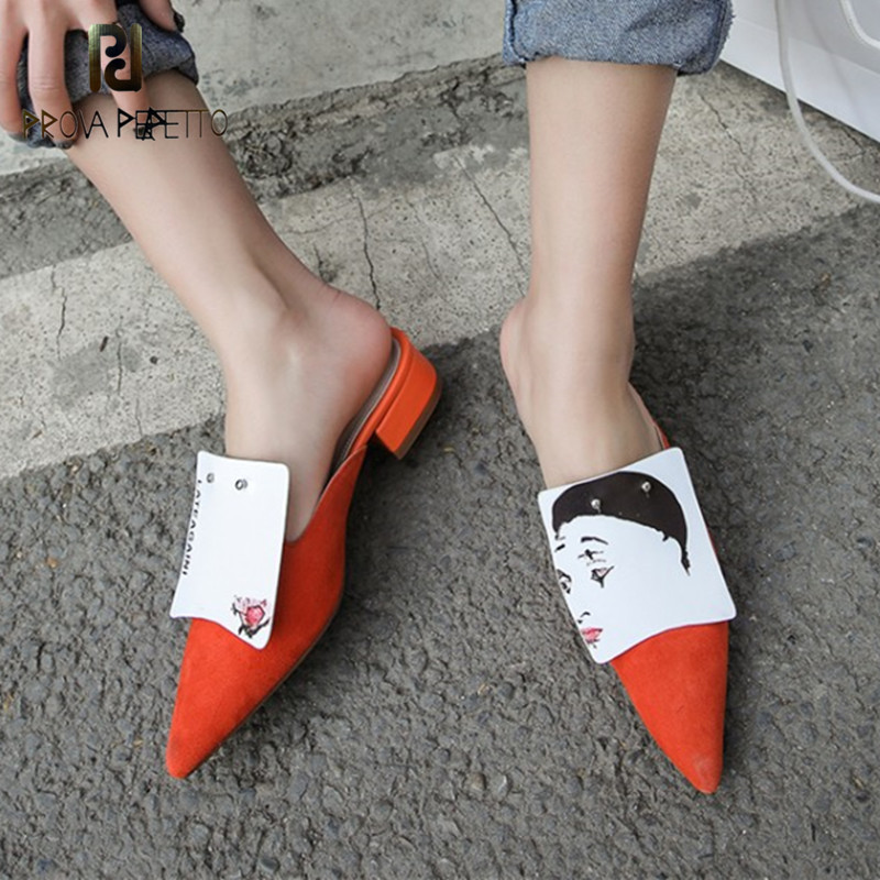 Diapositivas Planos stripe Negro Impresión Las Mujer Pie Slip Prova Primavera Del Zapatos Mulas Otoño Cebra rojo Zapatillas en Dedo Moda Perfetto De HqHwSYaA
