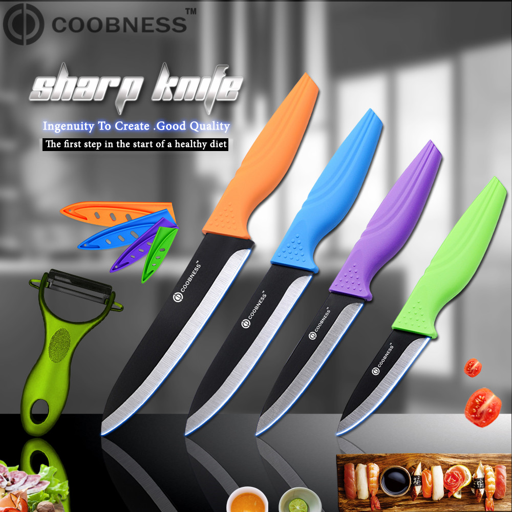 COOBNESS ABS+TPR Handle Zirconia Ceramic Knife Sharp Peeler And 3 4 5 6 Kitchen Knives Cutting Fruit Vegetables Kitchen Tool