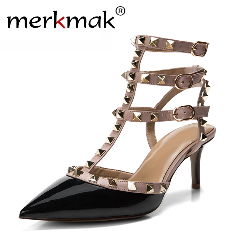 New 2016 Summer Lady Sexy Little Pepper Rivet High Heels Women Pumps Pointed Toe Sandals Slingback Studded T-Strap Shoes Woman наушники akg n20 silver