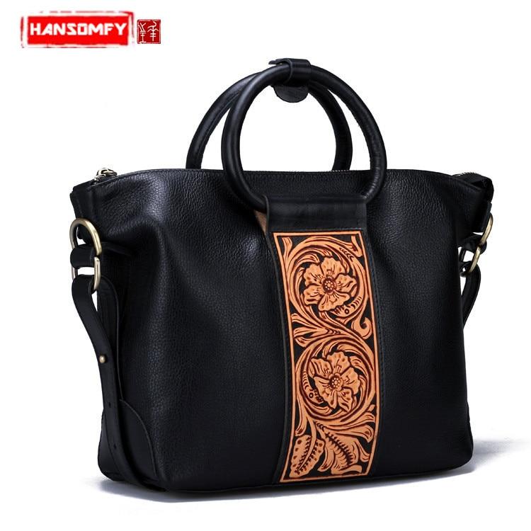 Original Genuine leather Women handbags new handmade first layer cowhide carving retro multi purpose shoulder messenger