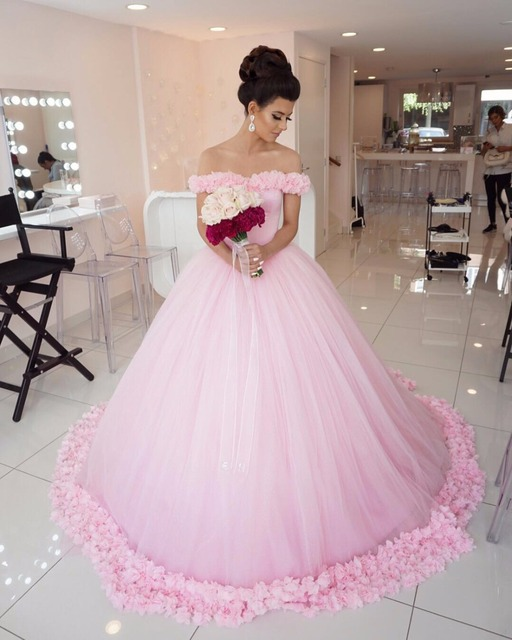 Princess Style Ball Gown Wedding Dresses Pink 2017 Newest Off ...