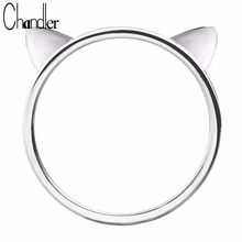 Wholesale Silver Plated Cat Ear Rings Round Close Cute Kitty Kitten Head Shape Ringen For Women Party Luxury Accessaries