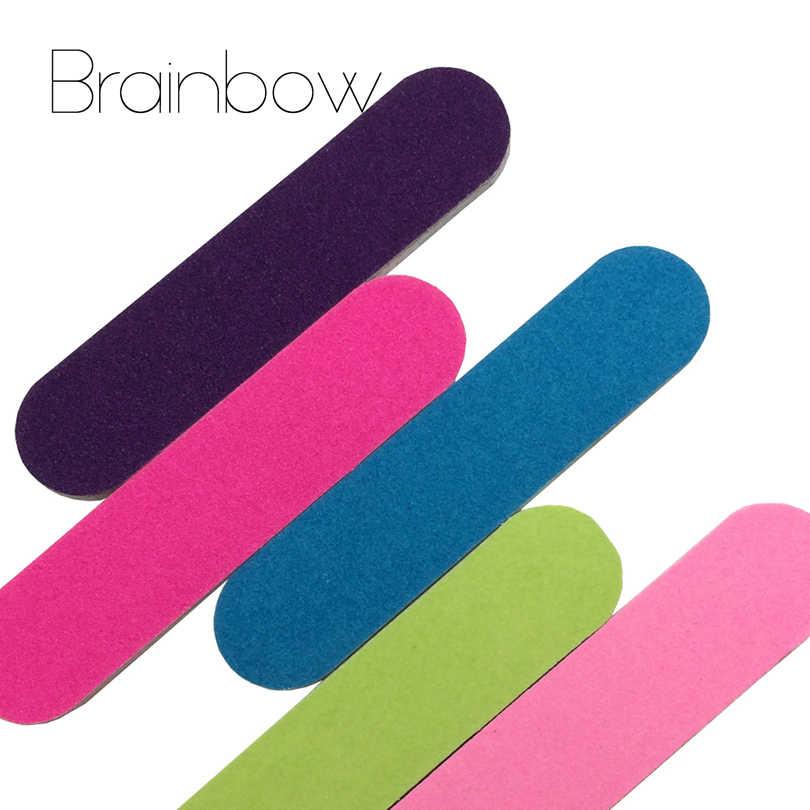 Brainbow 5 adet/grup Mini Tırnak Dosyaları Tırnak Sanat Güzellik Salonu Tampon Zımpara Manikür Parlatıcı Manikür Pedikür Tırnak Glitter Araçları