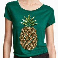 2017 New Women Summer T Shirt Pineapple Print Fashion T Shirts Green Sequined Tops Female Short