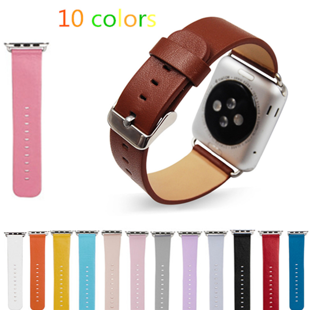 купить CRESTED Genuine Leather Watch strap For Apple Watch band 42 mm 38 mm leather band for iwatch 1/2/3 Classic Metal Buckle по цене 530.63 рублей